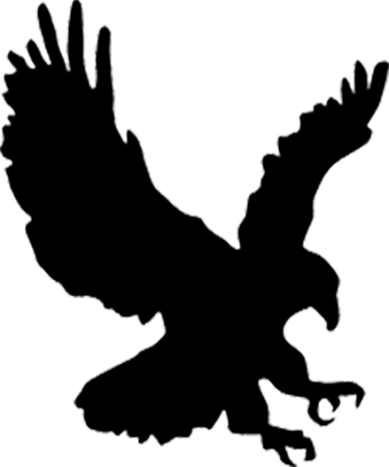 Silhouette of a bird of prey hovering with its talons extended.
