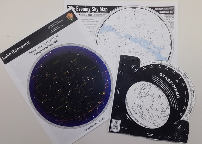 Star charts and planisphere used in Constellation Connections program
