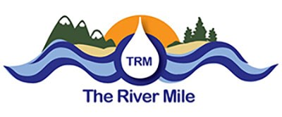 "The River Mile logo--an orange sun behind light and dark blue waves of water, green trees and mountains, and the letters ""TRM"" in the center"
