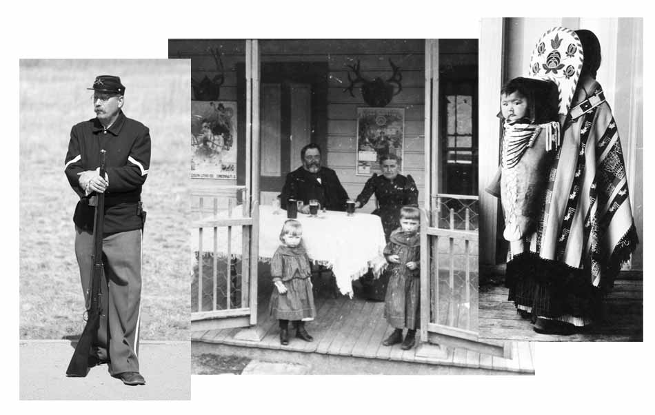 Three black and white photos. Living History volunteer as a Fort soldier. Settlers, man, woman and two children on their porch. Baby Indian on his mother's back in ornate carrier.