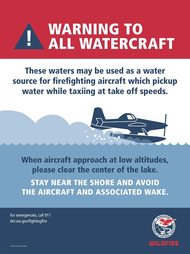 Poster providing instruction to boaters when firefighting aircraft are using the lake to pick up water.