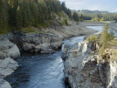 Kamloops Gorge. Kettle River running through a narrow, rocky gorge.