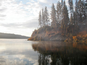 Cove along the shores of Lake Roosevelt. Autumn foliage surround the cove with mist rising from the water.