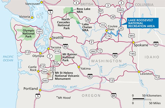 Map of Washington State showing location of Lake Roosevelt National Recreation Area in Northeast Washington. Image Credit: NPS/HFC