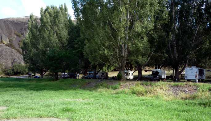campsites among shady trees