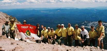 A troop of Boy Scouts on Lassen Peak