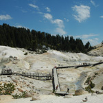 A boardwalk passes through the Bumpass Hell hydrothermal area.
