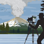 Drawing of man taking photo of Lassen Peak eruption