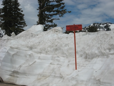 Deep snow keeps the Bumpass Hell Trail closed.