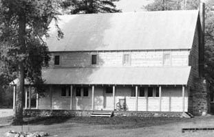 black and white image of brand new lodge constructed in 1938