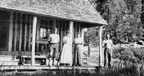 Sifford Family poses in front of their lodge at Drakesbad (historic B/W Photo)