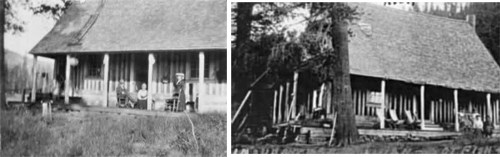 Annie Bidwell on porch of lodge and the lodge in 1907