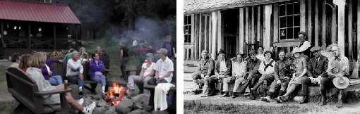 Drakesbad guests gather by the campfire in 2002, and on the porch in 1924