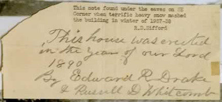 "handwritten note that reads ""This house was erected in the year of our Lord 1890"""