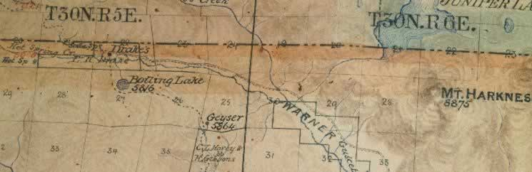 Drake's Cabin in Hot Spring Valley noted on the 1892 Keddie Map of Plumas county