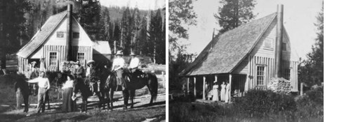 two black and white photos of rustic Drakesbad Lodge circa early 1900