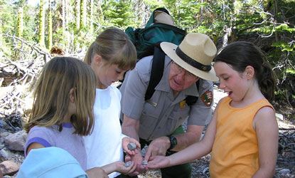 Junior Rangers explore the Manzanita Lake area.