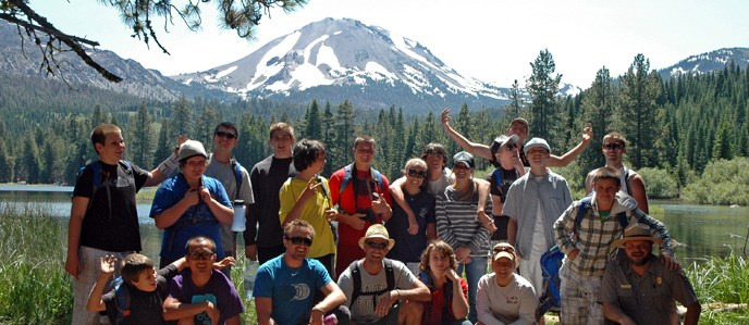 Youth Camping Program group at Manzanita Lake