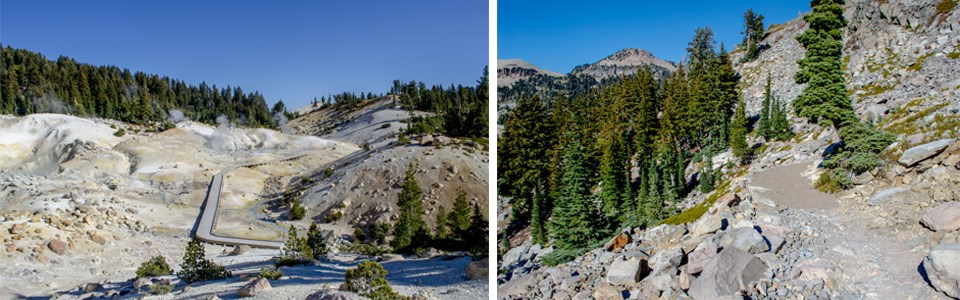Two images: at left a boardwalk in a steaming basin and at right a rocky trail