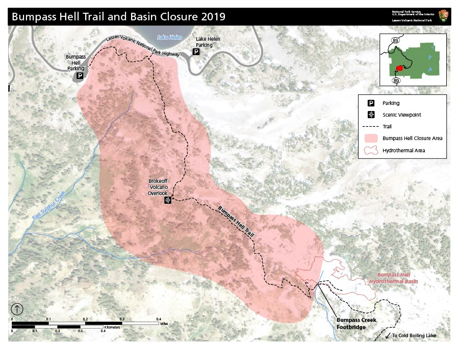 Map of closure area (shown in opaque red fill) for the Bumpass Hell Trail and basin