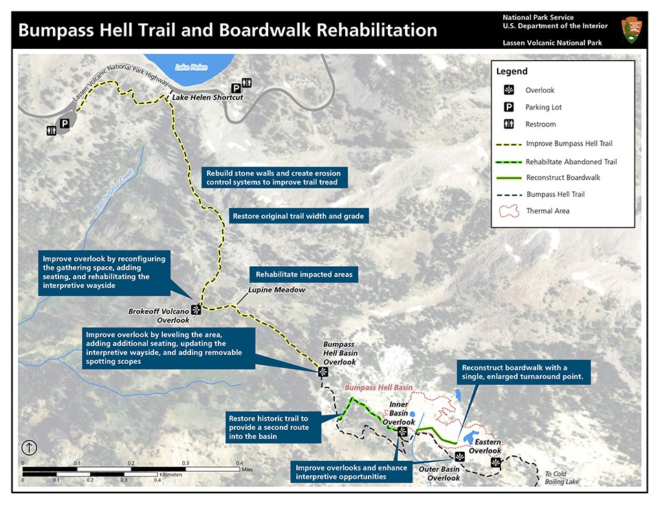 Map of Bumpass Hell trail and boardwalk identifying areas and actions for rehabilitation project