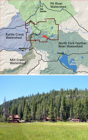 Two stacked photos of a map showing four watersheds and a rustic lodge in a meadow