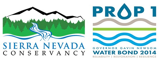 Two logos featuring mountains and water