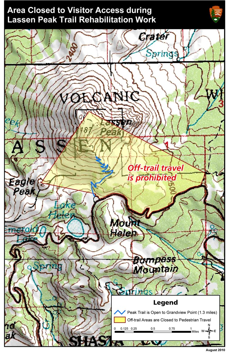 Map Showing Off-trail travel restrictions during peak trail closure