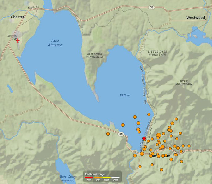 Map of earthquake activity near Lake Almanor