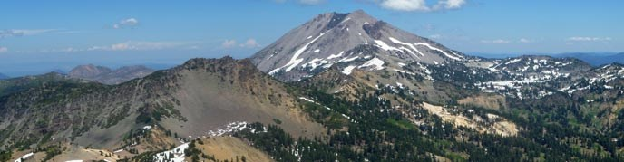 View of Mt. Diller and Lassen Peak from the top of Brokeoff Mountain