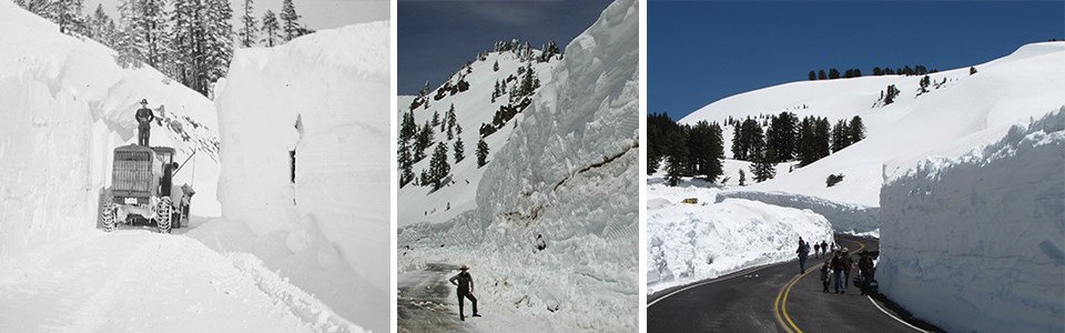 A compilation of three images showing 15+ foot high walls of snow