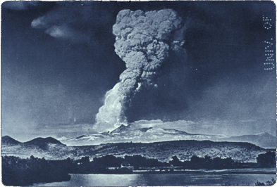 the May 22, 1915 eruption of Lassen Peak as seen from Red Bluff, California.