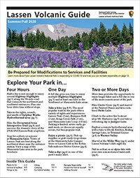 "The cover of a document titled ""Lassen Volcanic Guide"" with a photo of purple wildflowers backed by conifers and a mountain. Text covers the lower two-thirds of the page."