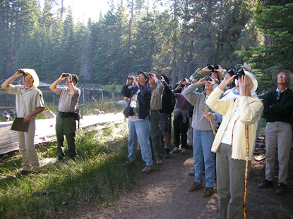 Visitors bird watch on the Early Birds ranger-led walk at Manzanita Lake.