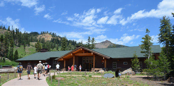 Visitors on a path to the Kohm Yah-mah-nee Visitor Center
