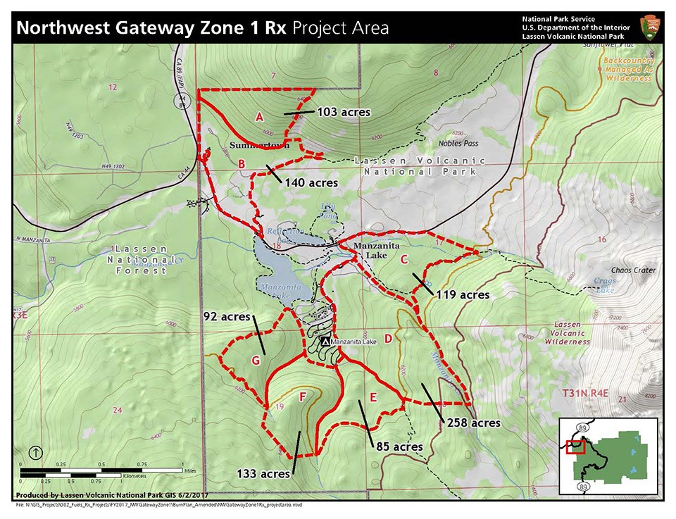 Map of Manzanita Lake area with forest in green fill and red outline for prescribed burn areas