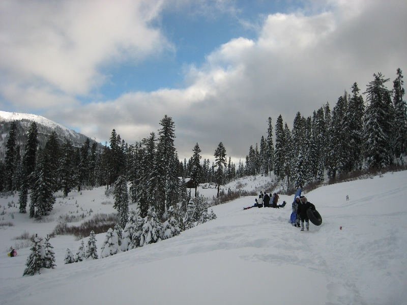 Visitors enjoying the snow near the Kohm Yah-mah-nee Visitor Center.