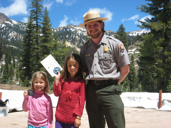 Junior Rangers outside of the Kohm Yah-mah-nee Visitor Center