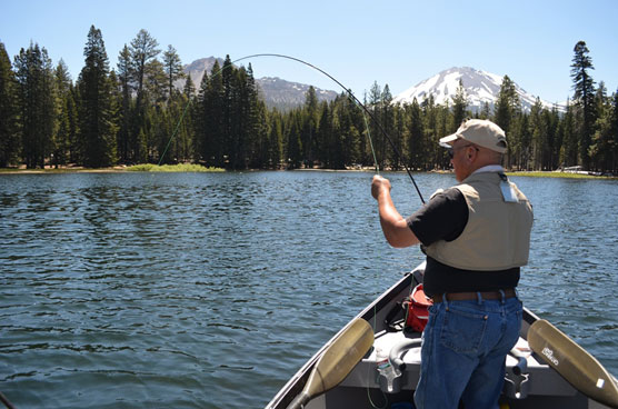 A Redding area veteran fishes at Manzanita Lake