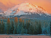 Sunset over Lassen Peak and Manzanita Lake