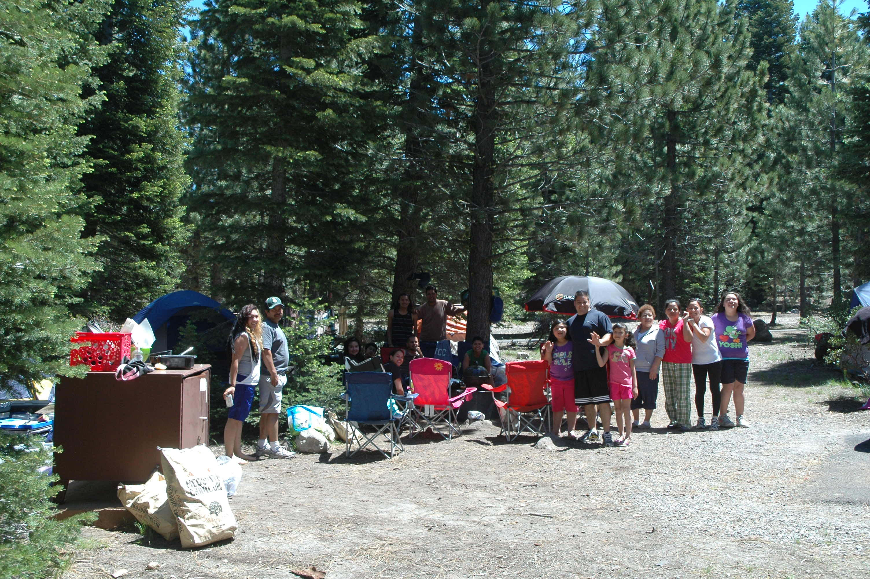 Campers enjoy sunny skies and cool temperatures at Manzanita Lake Campground.