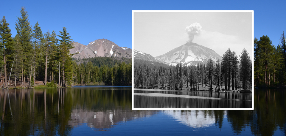 Present day image of Chaos Crags and Lassen Peak in Reflection Lake with historic image of 1915 Lassen Peak eruption from same location