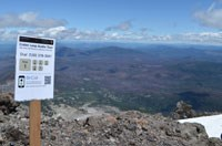 Audio tour sign on summit of Lassen Peak