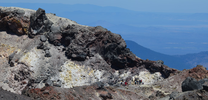 Hikers in Lassen Peak crater