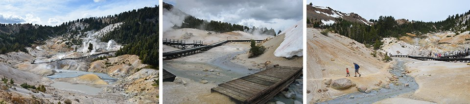Three images showing Bumpass Hell hydrothermal area basin, a footbridge, and a man and child hiking
