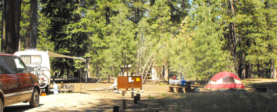 A campsite at Butte Lake Campground