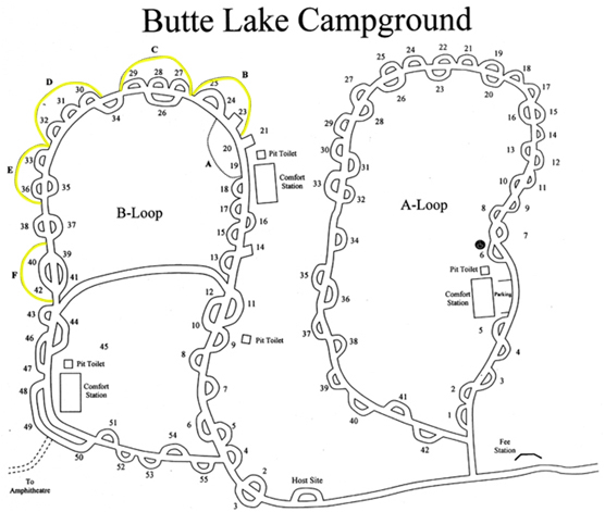 Map of Butte Lake Campground