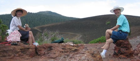 Hikers enjoy lunch on top of Cinder Cone