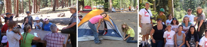 A selection of photos highlight youth camping activities