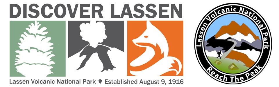 Logo with pinecone on green background, erupting volcano on grey background, and fox on orange background. A second logo at right of a hiker at the base of a mountain